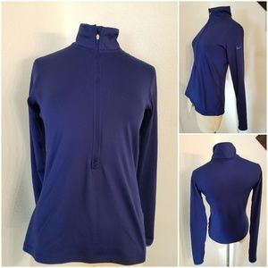 Nike Pro DriFit 1/2 Zip Pullover Top Sz M Blue